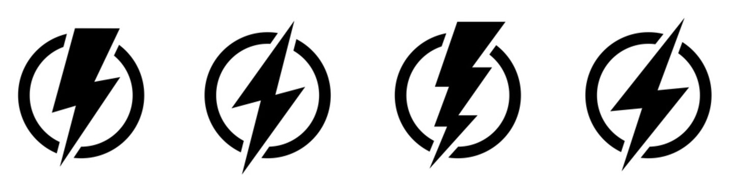 Set lightning bolt. Thunderbolt flat style - stock vector.