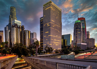 Fotomurales - Los Angeles downtown sunset panorama