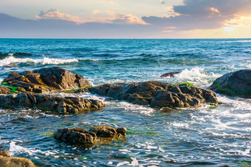 rocky shoreline of the sea in the morning. beautiful scenery with splashing waves and clouds on the sky. calm summer weather