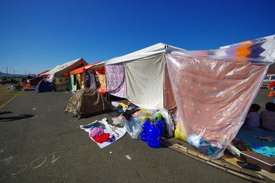 Portoviejo, Ecuador - April, 18, 2016: Tents for the refugees after 7.8 earthquake.