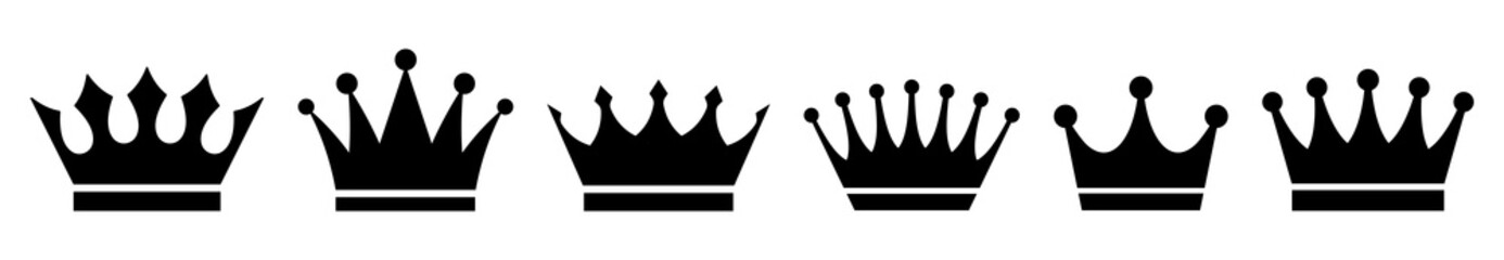 Crown icons set. Vector illustration