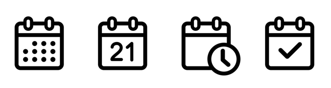 Calendar Icon collection. Set of calendar symbols. Meeting Deadlines icon. Time management .Appointment schedule flat icon icon