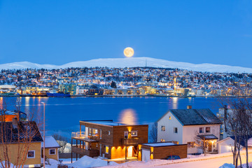 Tromso City At Full Moon In Winter Time, Christmas in Tromso, Norway