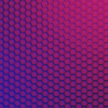 3D render - geometric hexagonal modern background, pink, violet