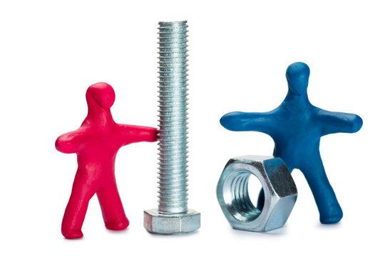 Plasticine small people advertise fasteners