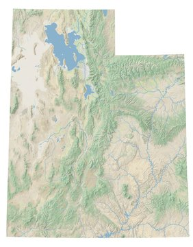 High resolution topographic map of Utah with land cover, rivers and shaded relief in 1:1.000.000 scale.