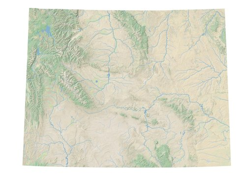 High resolution topographic map of Wyoming with land cover, rivers and shaded relief in 1:1.000.000 scale.