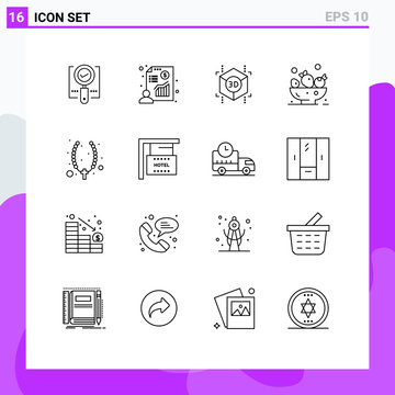 Pack of 16 Modern Outlines Signs and Symbols for Web Print Media such as cross, necklace, profit, drink, berries
