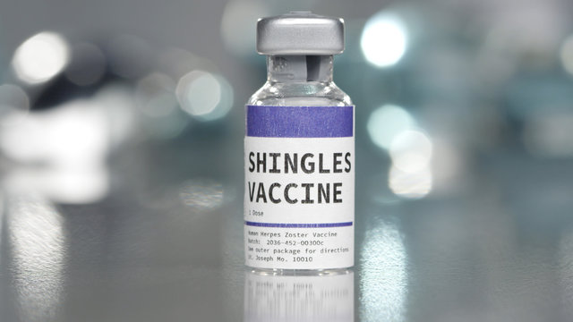 Shingles vaccine vial in medical lab