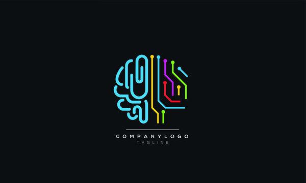 An abstract tech brain logo design vector