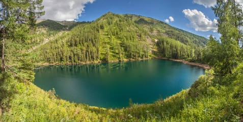 Wall Mural - Picturesque forest lake, summer mountain landscape.  Wild lake in Siberia, travel and leisure