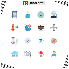 Pictogram Set of 16 Simple Flat Colors of thermometer, temperature, arrow, membership, business