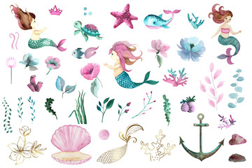 Watercolor Little Mermaid hand painted collection with 3 cute little mermaids, sea turtle, whale, starfish, corals, seaweed, flowers, shells, anchor, fish