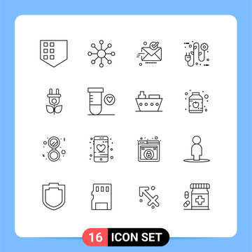 16 Universal Outlines Set for Web and Mobile Applications nature, eco, sent, electrician, ecology