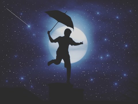 Digital Composite Image Of Man Holding Umbrella While Standing Against Moon At Night