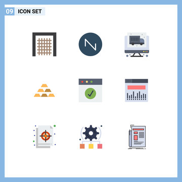 Modern Set of 9 Flat Colors Pictograph of app, reserve, truck, money, deposit