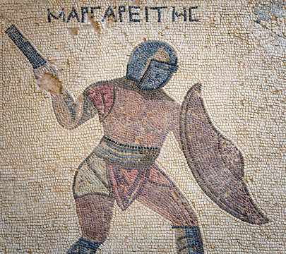 Mosaic depicting a gladiator, Margarities. The end of the 3rd century AD. House of Gladiators. Kourion (Cyprus)