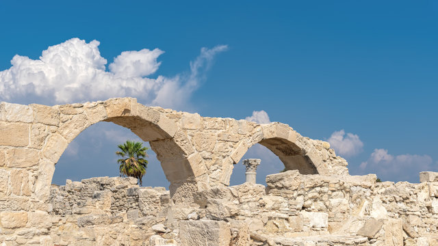 The ruins of an ancient aqueduct in the ancient Greek city of Kourion. (Cyprus)