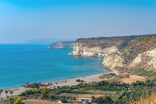 View from the ancient Mount Kourion to the beach of the same name and the Mediterranean coast (Cyprus).
