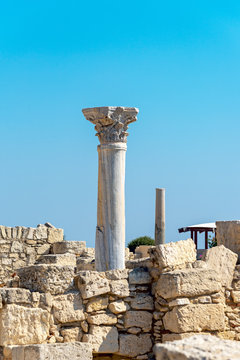 Antique column in the ancient city of Kourion (Cyprus)