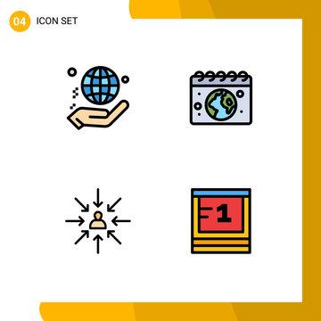 Filledline Flat Color Pack of 4 Universal Symbols of hand, candidate, world, globe, choose
