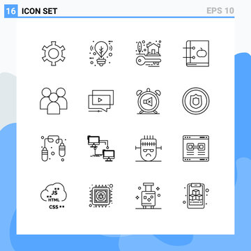 16 Creative Icons Modern Signs and Symbols of group, learning, keys, knowledge, book