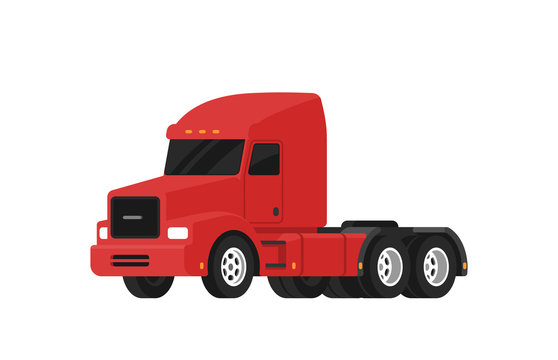 Red semi truck. Classic American truck. Vehicle for the carriage of heavy goods. Vector isolated on white background. Side view.
