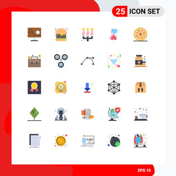 25 Universal Flat Color Signs Symbols of pepperoni, drink, candle, typography, heart