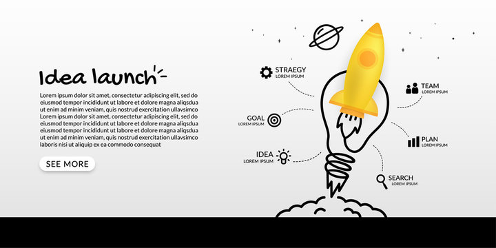 Rocket launching to space with light bulb infographic, business starp up concept