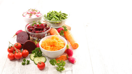 Wall Mural - vegetable salad- carrot, beetroot, radish and bean- copy space