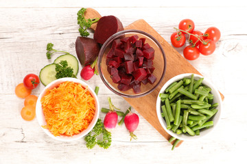 Wall Mural - assorted vegetable salad- carrot, beetroot, radish and bean- copy space
