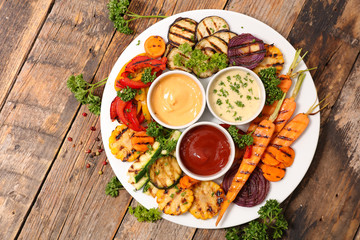 Wall Mural - barbecue vegetable, grilled vegetable with dip