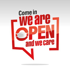 Come in we are open and we care Coronavirus protection measures isolated in brackets sticker icon