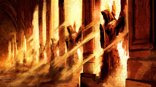 The wall of the Cathedral with many Windows, each of which has a statue of a praying angel, through the Windows breaks powerful sunlight, painted with imitation oil. 2D illustration