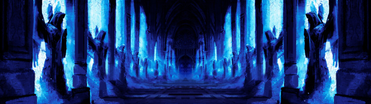 A dark night corridor assembled with many statues of angels along the wall, everything is lit by blue moonlight, at the end of the corridor is a massive door. 2d illustration
