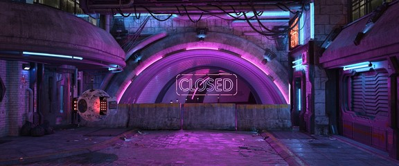 Fotomurales - Neon urban future. Tunnel with bright purple neon lighting blocked by concrete blocks. Photorealistic 3d illustration of the futuristic city in the style of cyberpunk. Beautiful night cityscape.