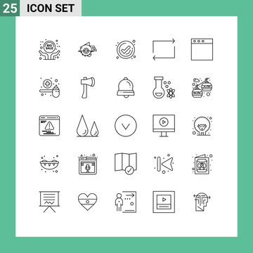 Universal Icon Symbols Group of 25 Modern Lines of mac, repeat, repair, play, check
