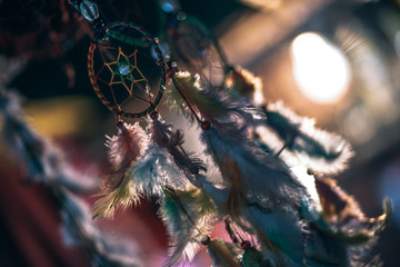 Low Angle View Of Dreamcatchers Hanging For Sale At Market Stall