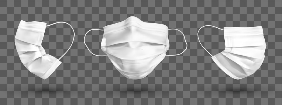 Protective face mask or medical mask. To protect coronavirus and infection. White medical mask set isolated on transparent background. Realistic vector illustration