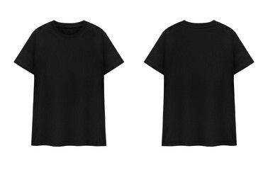 Black T-shirt front and back on white background.