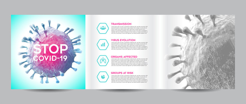 Coronavirus Covid 19 Brochure Square Trifold Template Mockups Flyer Layout Cover Design Book Design Vector