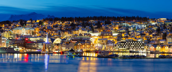 Panoramic view on Tromso By Polar Night, Winter Time, Christmas in Tromso, Norway