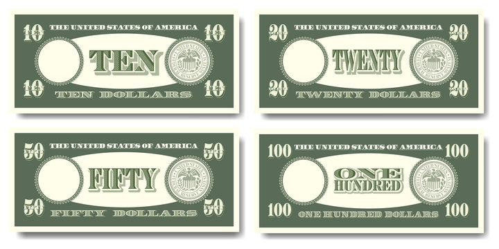 US fictitious green paper money in denominations of  ten, twenty, fifty and one hundred dollars Part two