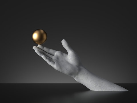 3d render, mannequin hand holding golden ball, open palm gesture isolated on black background. Modern minimal fashion concept, simple clean design. Concrete sculpture. Human limb prosthesis