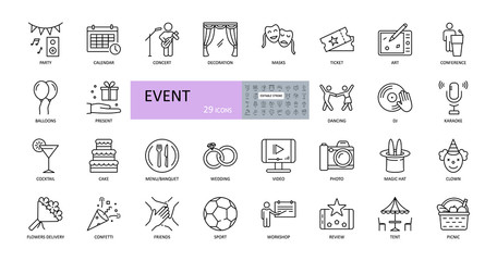 Fototapeta Event vector icons. Editable Stroke. Entertainment, party concert scenery, music video, wedding gifts, dancing, DJ. Food drinks, flowers, sport tickets, picnic tent obraz