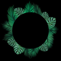 Wall Mural - Vector decorative round frame with realistic monstera and palm leaves on black background