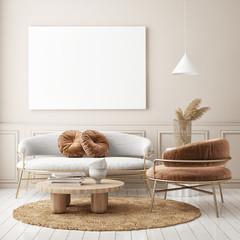 Wall Mural - mock up poster frame in modern interior background, living room, Scandinavian style, 3D render, 3D illustration