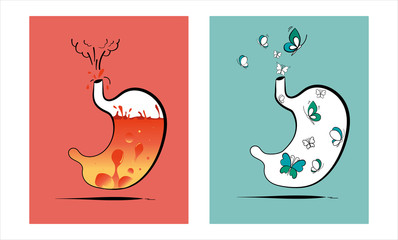 Stomach vector illustration. Concept of two different health conditions. The first shows heartburn and volcano fire. The second shows comfort in the form of flying butterflies. Medical theme.