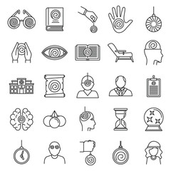 Hypnosis health icons set. Outline set of hypnosis health vector icons for web design isolated on white background