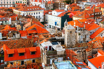 Wall Mural - Aerial view of Split, Croatia. Old historical buildings and famous Palace of the Emperor Diocletian
